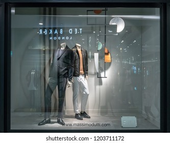 Massimo Dutti shop at Emquatier, Bangkok, Thailand, Oct 15, 2018 : Luxury and fashionable clothing and accessories brand window display for men in modern style.