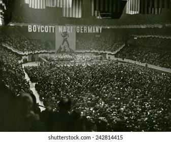 Massive anti-Nazis demonstration calls for a Boycott of Nazi Germany, in Madison Square Garden, New York City, March 15, 1937.