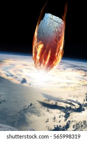 A massive asteroid enters Earth's atmosphere and impacts the planet causing an extinction level event. - Elements of this image furnished by NASA.