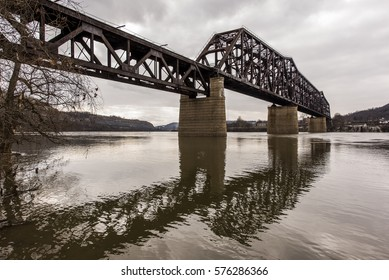 The massive Baltimore through truss bridge carries the Norfolk Southern Railway and formerly the Pennsylvania Railroad over the Ohio River between Weirton, West Virginia and Steubenville, Ohio.