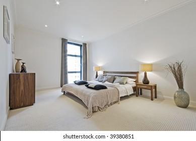 massive bedroom with decorative elements