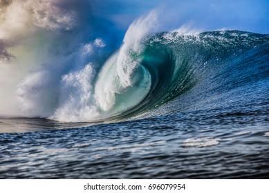 massive blue wave breaks