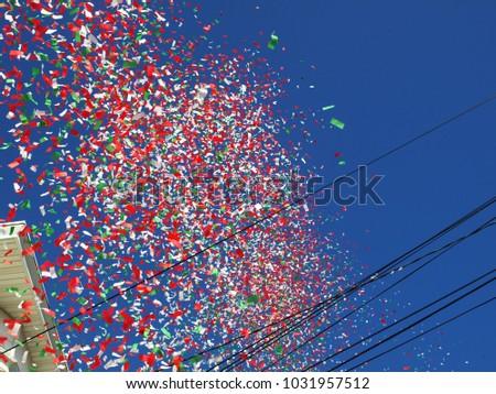 massive confetti blast cannon festival celebrated stock photo edit