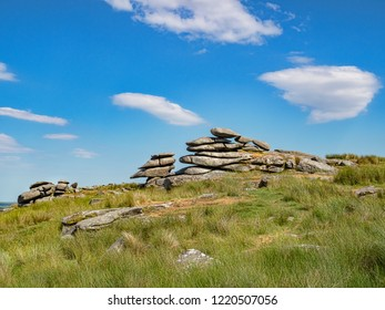 Massive granite tors on Stowe's Hill, Bodmin Moor, Cornwall, UK on a bright sunny day.
