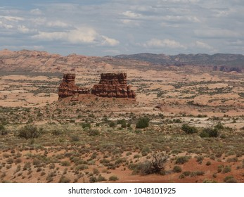 Massive isolated rock in the horizon of Arches National Park, Moab, Utah