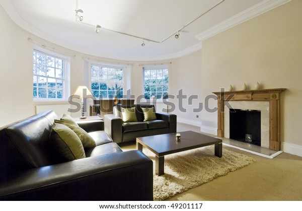 Massive Living Room Bay Window Contemporary Stock Photo ...