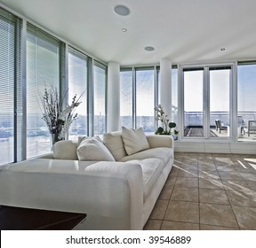 massive luxury living room with terrace access door