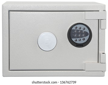 Massive metal safe with a coded lock isolated on white background