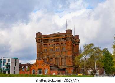 Massive old red brick water tower of Bremen, Germany. It looks like real castle (Umgedrehte Kommode)