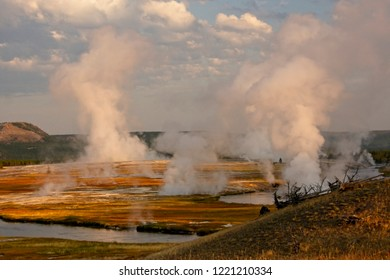 Massive plumes of steam on a cold morning at yellowstone's Midway Geyser Basin.