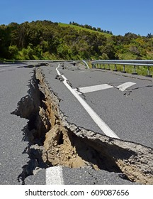 Massive Road Cracks appear during the huge 2016 Kaikoura Earthquake in New Zealand. The earthquake measured 7.8 on the Richter scale and moved the whole South Island several metres north.