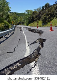 Massive Road Cracks appeared in The Hunderlee Hills on Highway One, North Canterbury after the 2016 7.8 Richter Scale Kaikoura Earthquake in New Zealand.