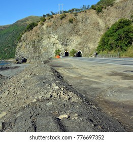 A Massive Slip is cleared from the Raramai Road Tunnels section of Highway One 14 Kms south of Kaikoura one year following the Devastating Earthquake of November 2016.