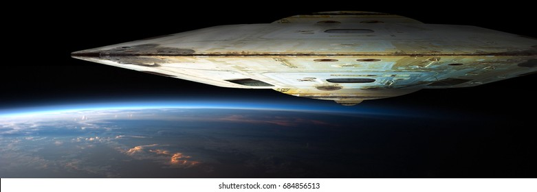 A massive spaceship known as mothership takes position over Earth for a coming invasion at sunrise.  Elements of this image furnished by NASA.
