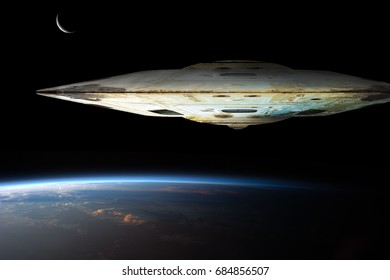 A massive spaceships known as mothership takes position over Earth for a coming invasion at sunrise while the crescent moon shines in the backround.  Elements of this image furnished by NASA.