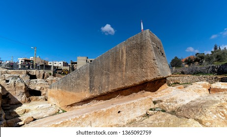 A massive stone block called Stone of the Pregnant Woman in Baalbek, Lebanon