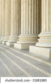 massive stone Corinthian columns at the US Supreme Court