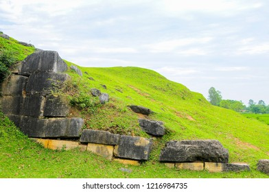Massive stones and earthen ramparts form the north wall of the Ho Citadel, Thanh Hoa Province, Vietnam. The citadel became a UNESCO World Heritage Site in 2011.