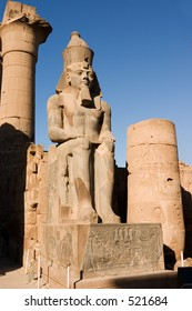 The massive stue or colossus of Ramses II in the Temple of Luxor (Thebes) Egypt