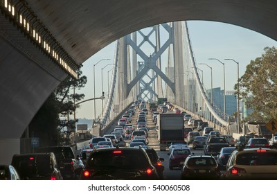 Massive traffic jam In the early morning on the Bay Bridge, at the exit of a tunnel. It is the main connection between the cities of Oakland and San Francisco, CA