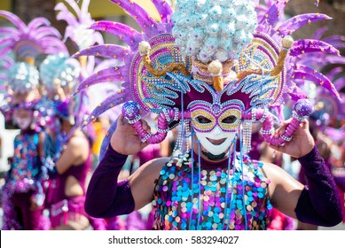 Masskara Festival street dance parade participant facing the  camera.