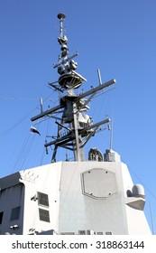 Mast with Aegis Radar System in a destroyer ship