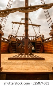 The mast and the deck of an ancient ship