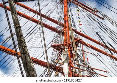 Mast historic sailing ship, close-up