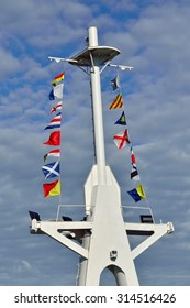Mast of the ship and maritime signal flags