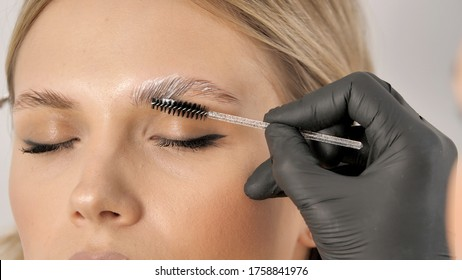 Master applies brow paste with a brush to eyebrows. Beautiful attractive female face of a blonde well-groomed woman or lady. Styling and lamination of eyebrows. Stylist's hands in black gloves