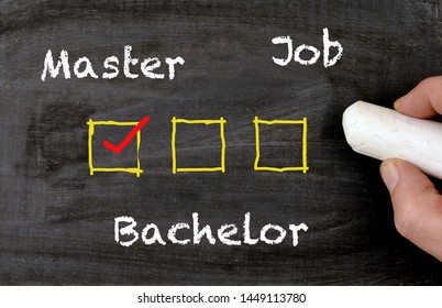 Master Bachelor Job decision sign with checkboxes