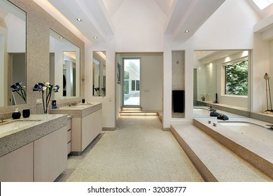 Master bath with step up tub