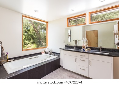 Master Bathroom with large open windows, and large soaking tub