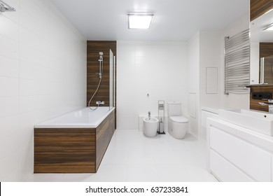 Master bathroom in a luxury apartment downtown. Brand new white ceramic sanitary wear. Wooden elements. Classic with loft elements.