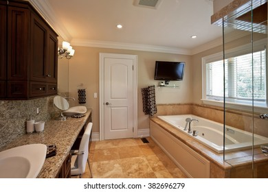 Master bathroom in a new luxury house