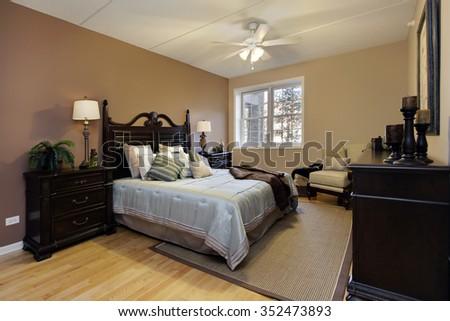 Master Bedroom Condominium Dark Wood Furniture Stock Photo Edit Now