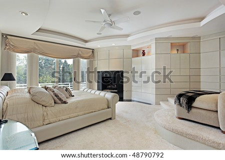 Master Bedroom In Luxury Home With Elevated Sitting Area