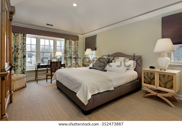 Master Bedroom Luxury Home Tray Ceiling Stock Photo (Edit ...