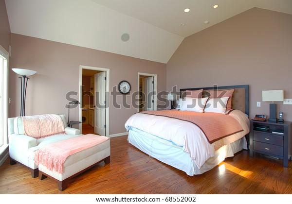 Master Bedroom Modern Design Pink Brown Stock Photo (Edit ...
