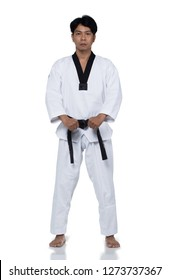Master Black Belt TaeKwonDo handsome man instructor Teacher fighter show hit pose, studio white background isolated.  White formal fighting suit, motion blur hand foots on taekwondo pose karate