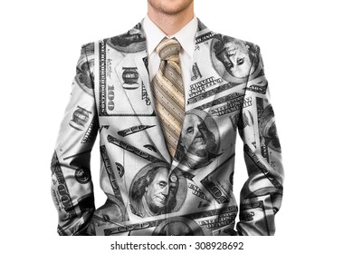 Master of business dressed in dollar suit - concept of big rich boss
