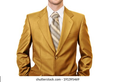 Master of business dressed in gold suit - concept of big boss