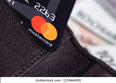 Master Card in the leather wallet, close up of credit cards. MasterCard Worldwide is an American multinational financial services corporation. Moscow, Russia - December 8, 2018
