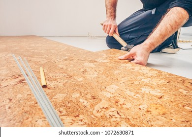 Master class for laying cork flooring, installation of a cork floor by a floating method, connection of a series of cork flooring