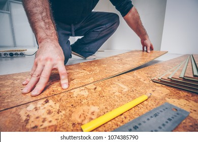 Master connects the cork flooring panels