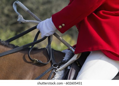 A Master of Foxhounds in a traditional hunting coat, on horseback