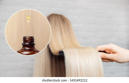 Master hairdresser procedure oil hair treatment for woman. Concept spa salon