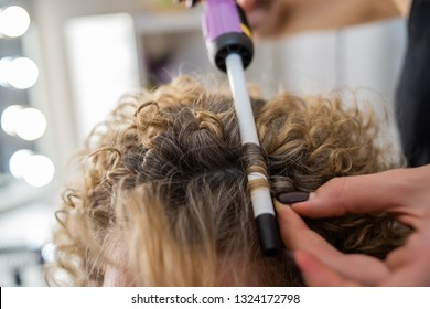 master makes curls, curls hair close-up, Afro curls