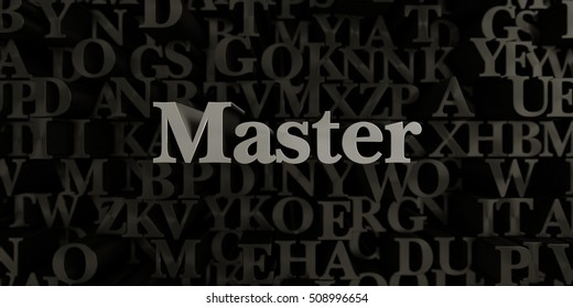 Master - Stock image of 3D rendered metallic typeset headline illustration.  Can be used for an online banner ad or a print postcard.