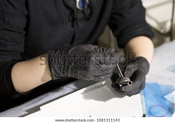 Master Tattoo Artist Prepares Tools Tattooing Stock Photo Edit Now 1081311143